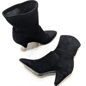 UO Black Suede Ankle Scrunch Booties Size 9
